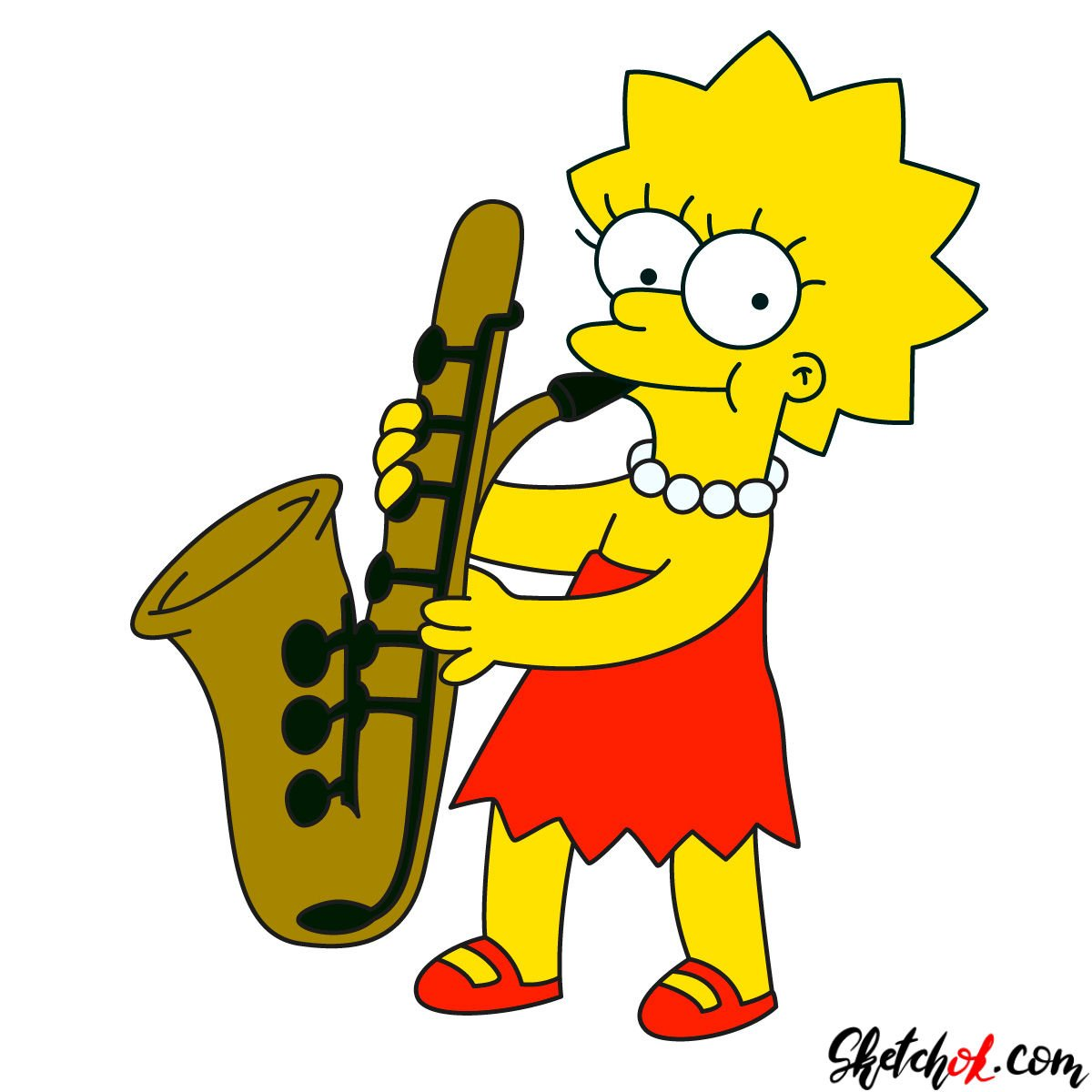 How to draw Lisa Simpson playing the saxophone