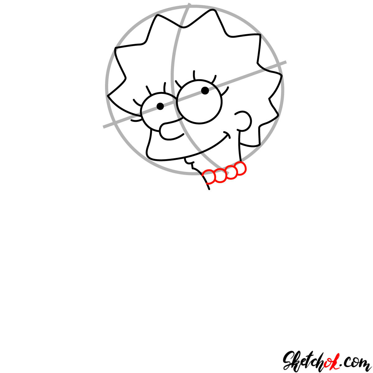 How to draw cute Lisa Simpson - step 04