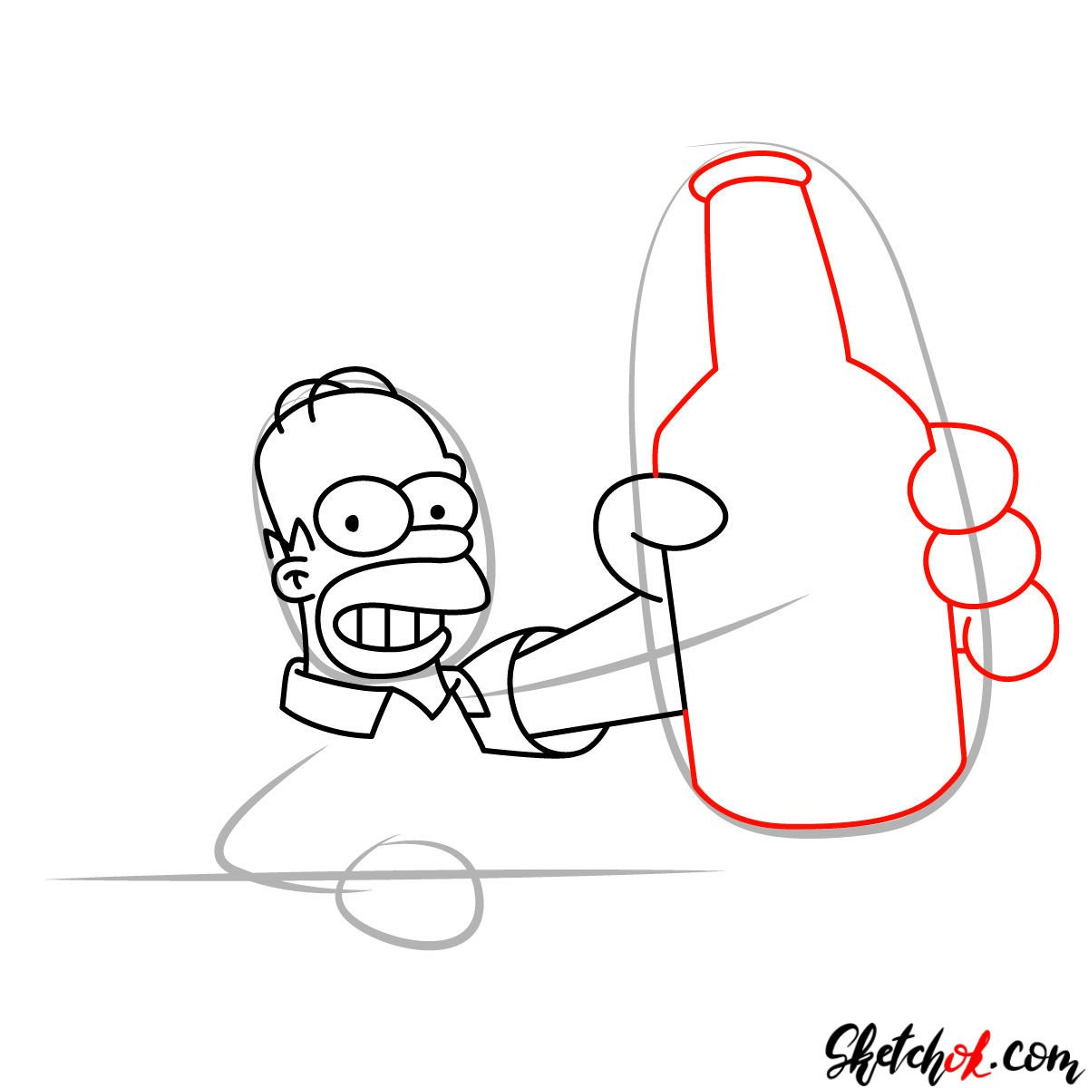 How to draw Homer with a Duff beer bottle - step 07