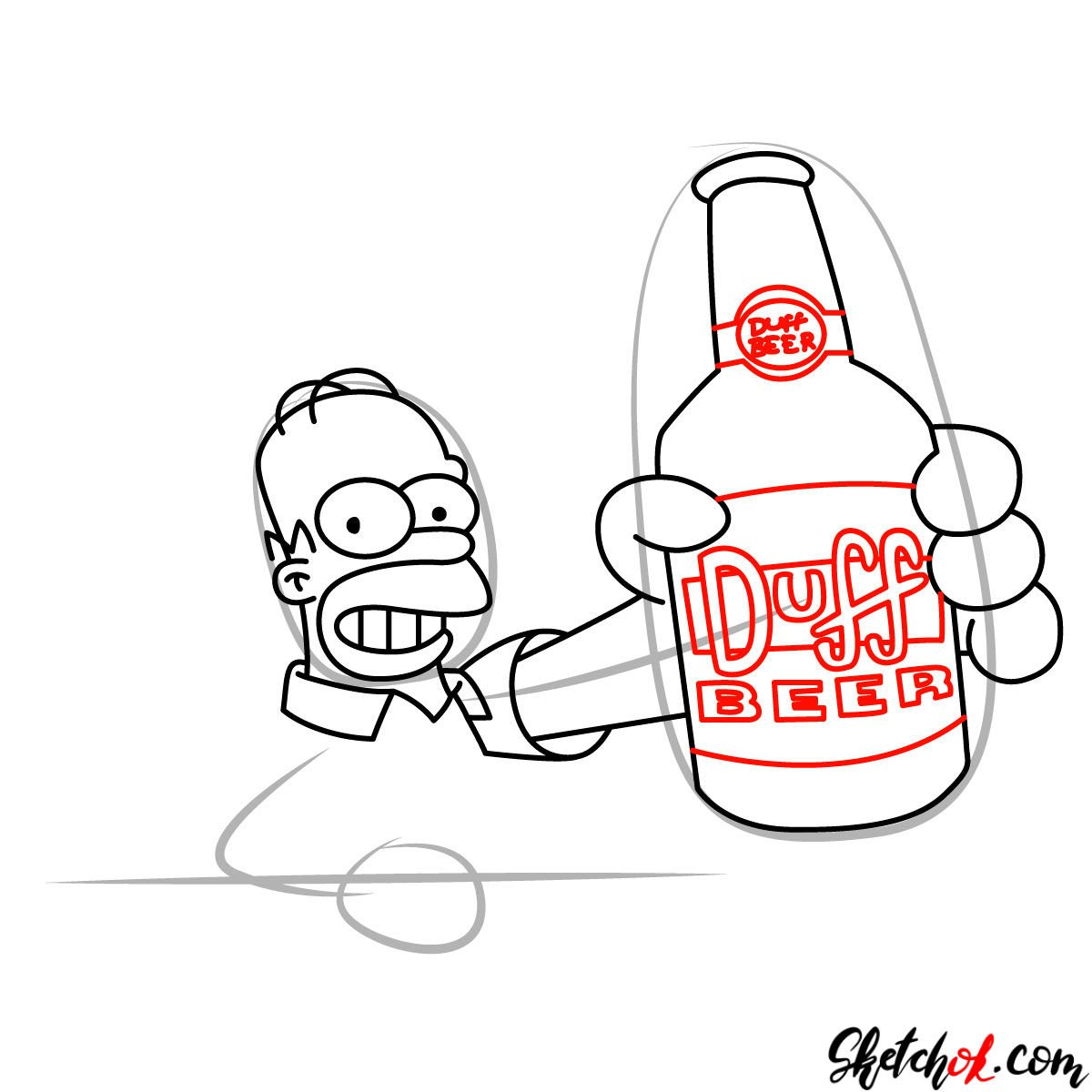 How to draw Homer with a Duff beer bottle - step 08