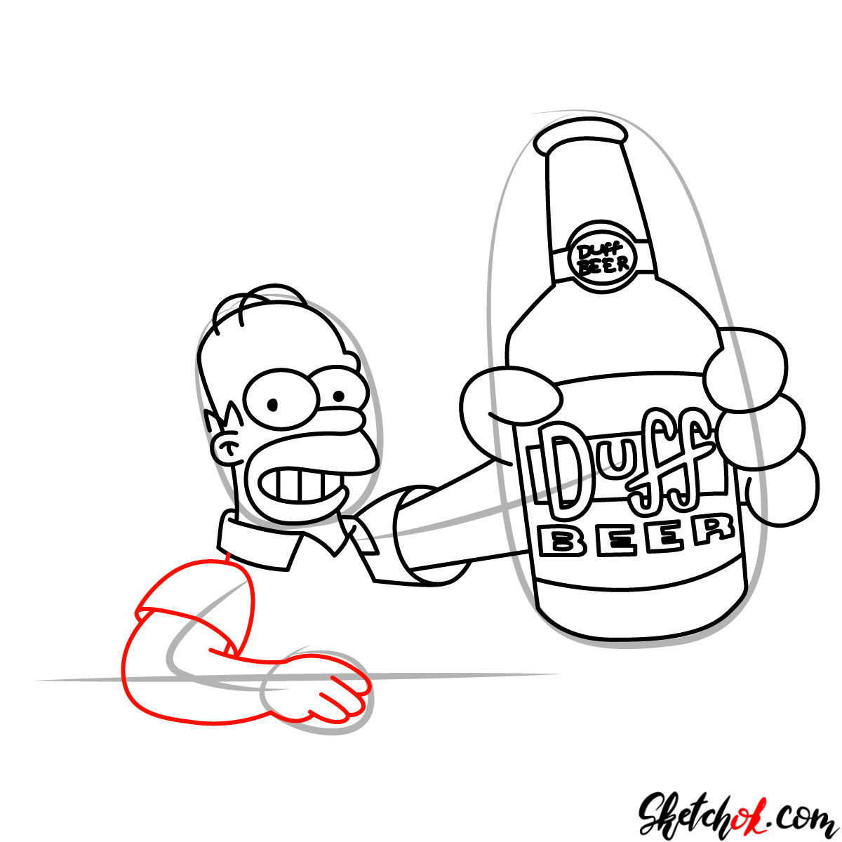 How to draw Homer with a Duff beer bottle - step 09