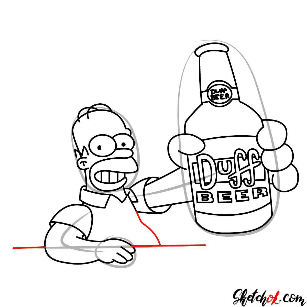How to draw Homer with a Duff beer bottle - step 10