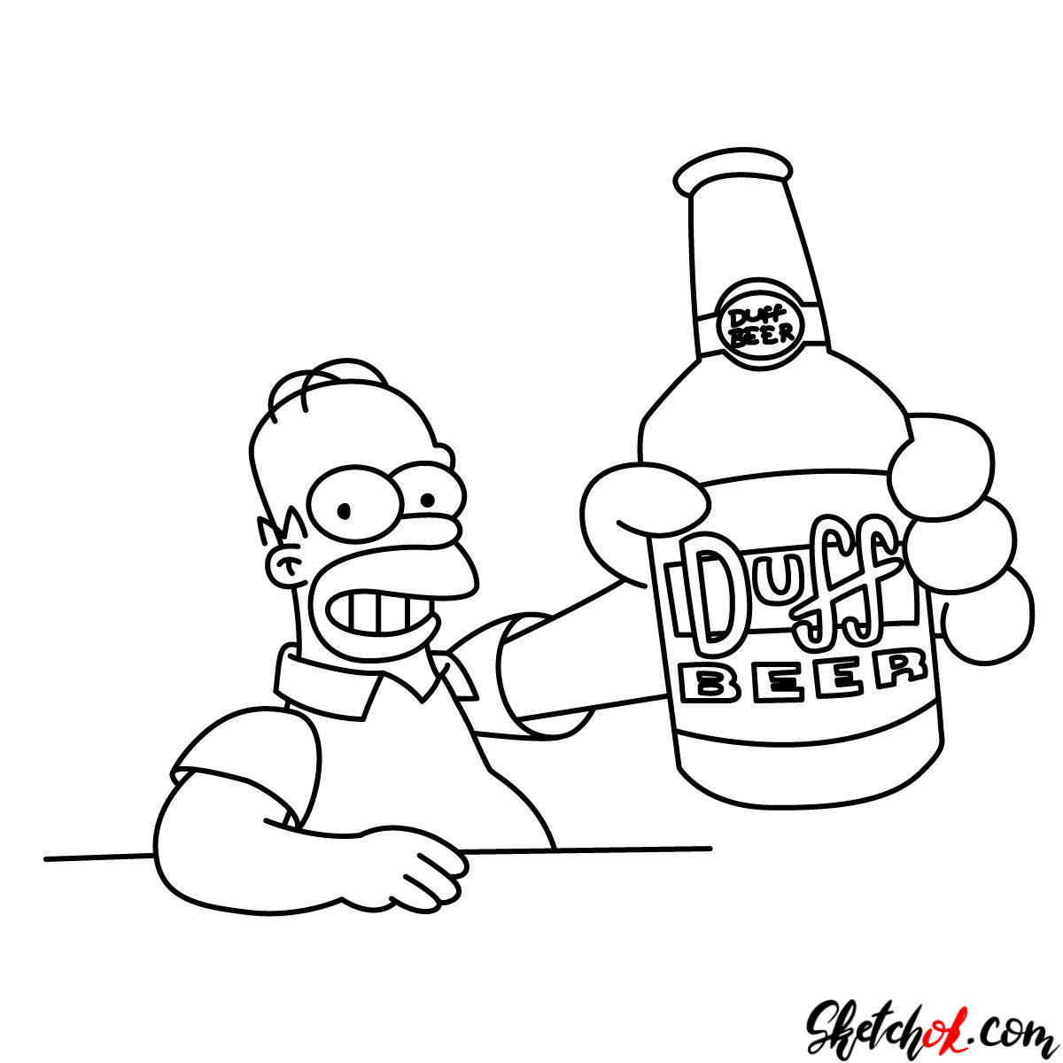 How to draw Homer with a Duff beer bottle - step 11