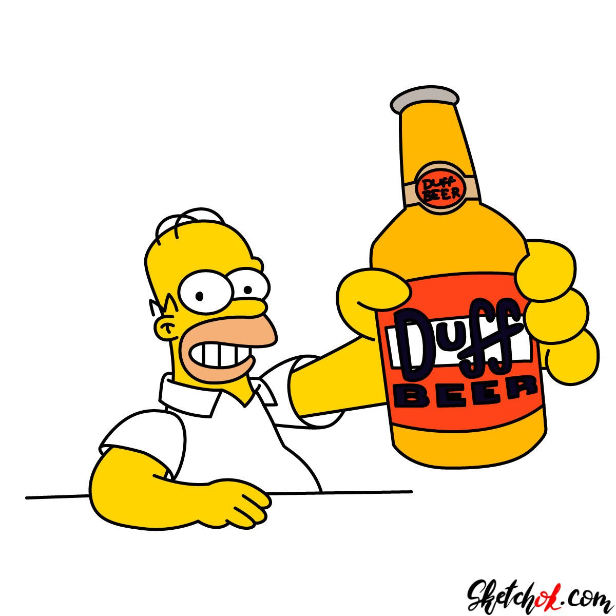 How to draw Homer with a Duff beer bottle - coloring