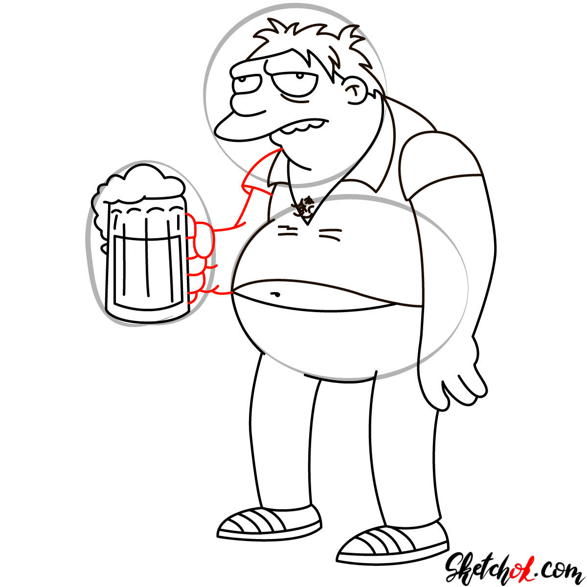 How to draw Barney with a cup of beer - step 12