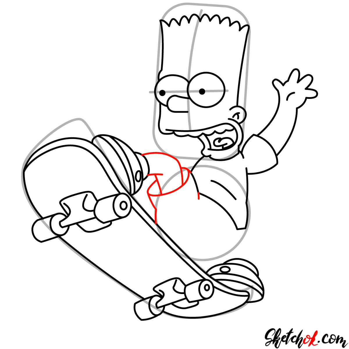 How to draw Bart Simpson on a skateboard - step 10