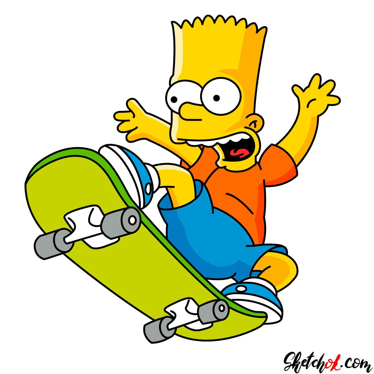 How to draw Bart Simpson on a skateboard