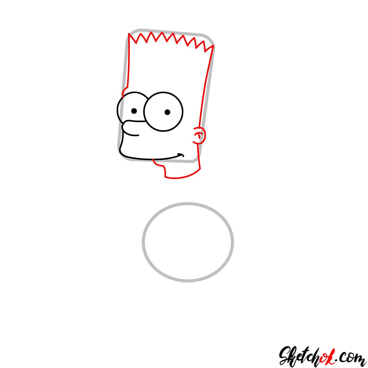 How to draw Bart Simpson - step 03