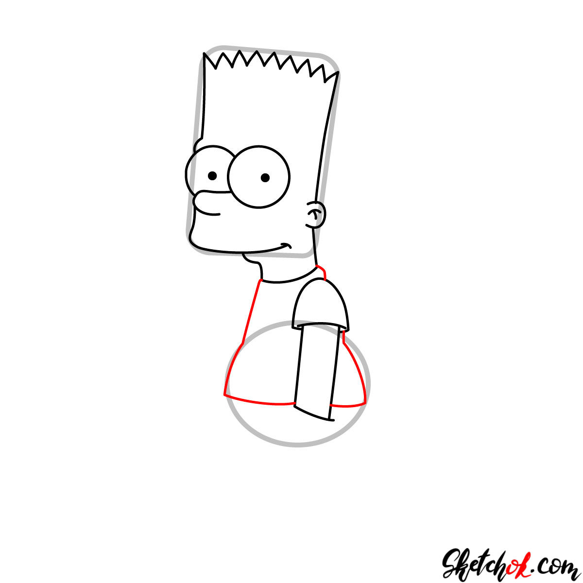 How to draw Bart Simpson - step 05