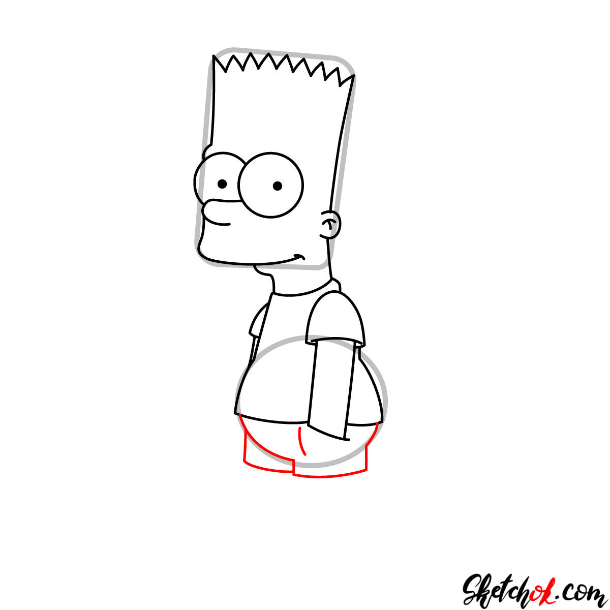 How to draw Bart Simpson - step 07