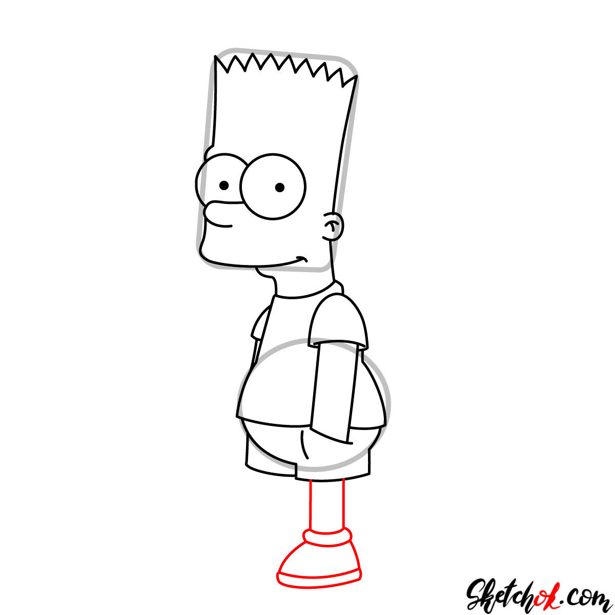 How to draw Bart Simpson - step 08