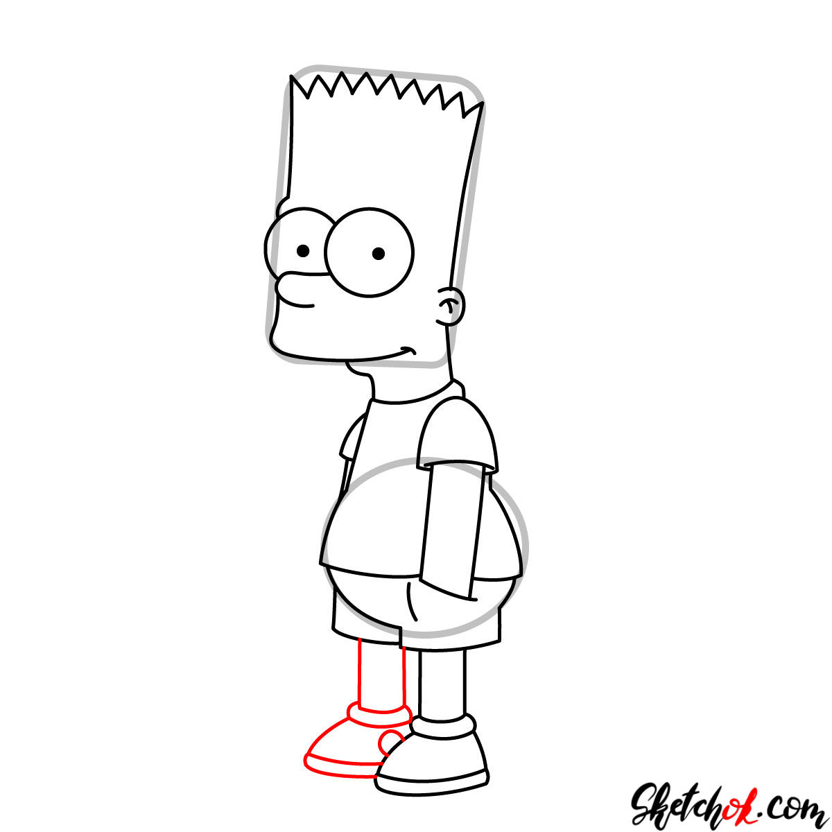 How to draw Bart Simpson - step 09