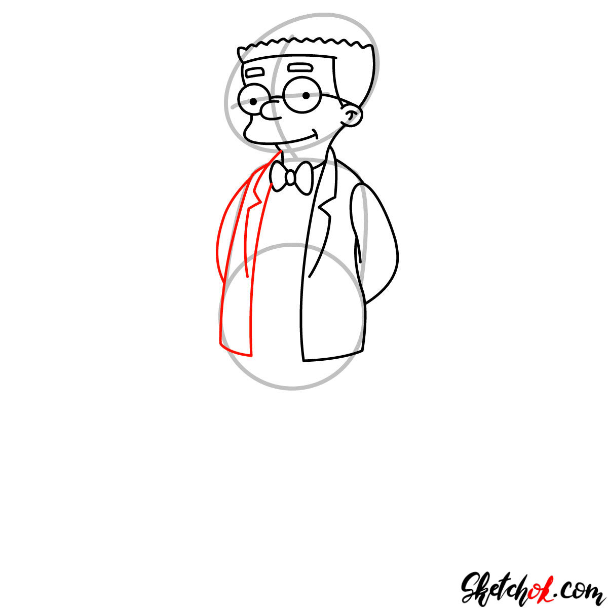How to draw Waylon Smithers - step 07