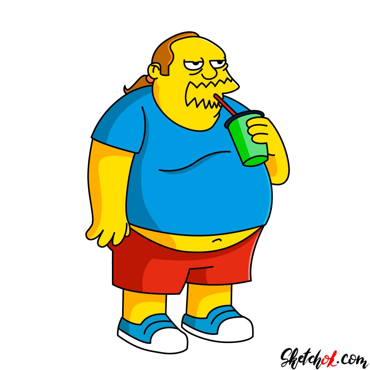 How to draw Comic Book Guy drinking coke
