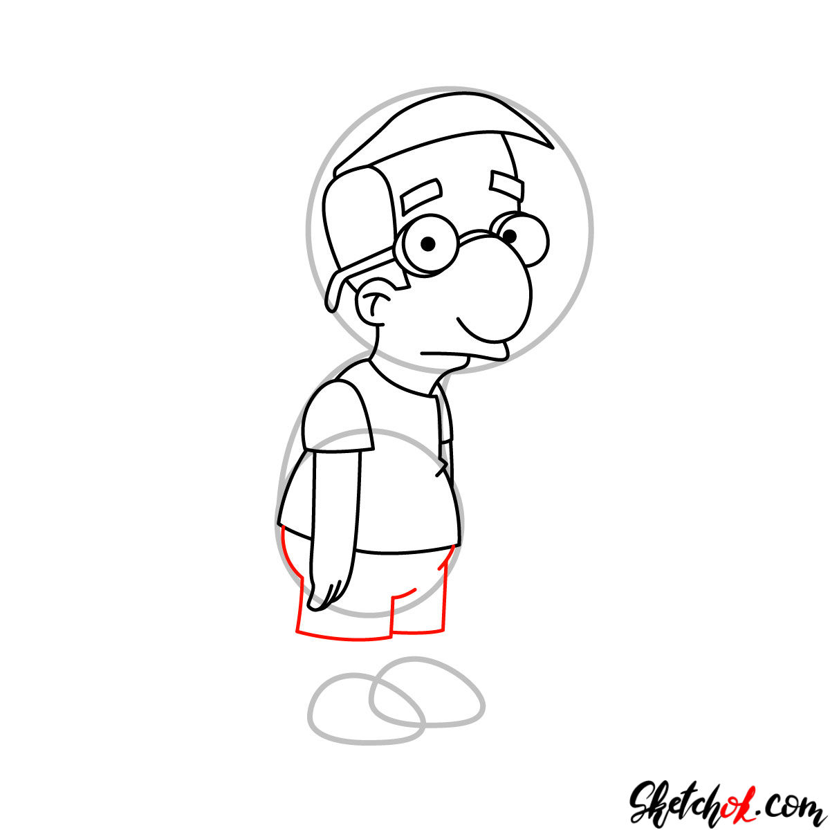 How to draw Milhouse Van Houten - step 07