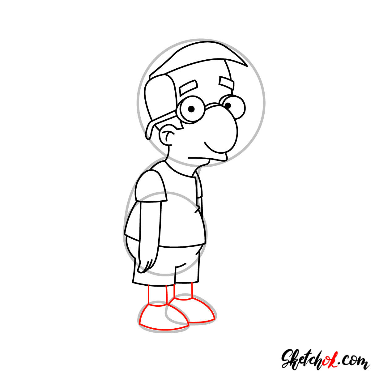 How to draw Milhouse Van Houten - step 08