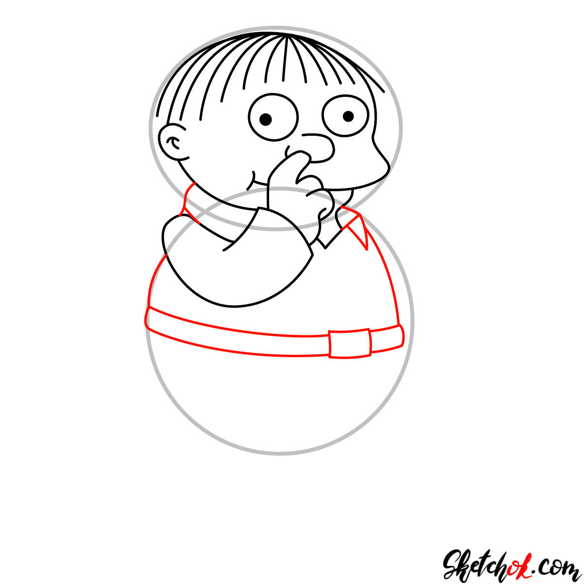 How to draw Ralph Wiggum picking his nose - step 06
