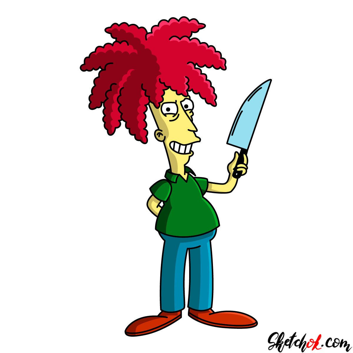How to draw Slideshow Bob with a knife