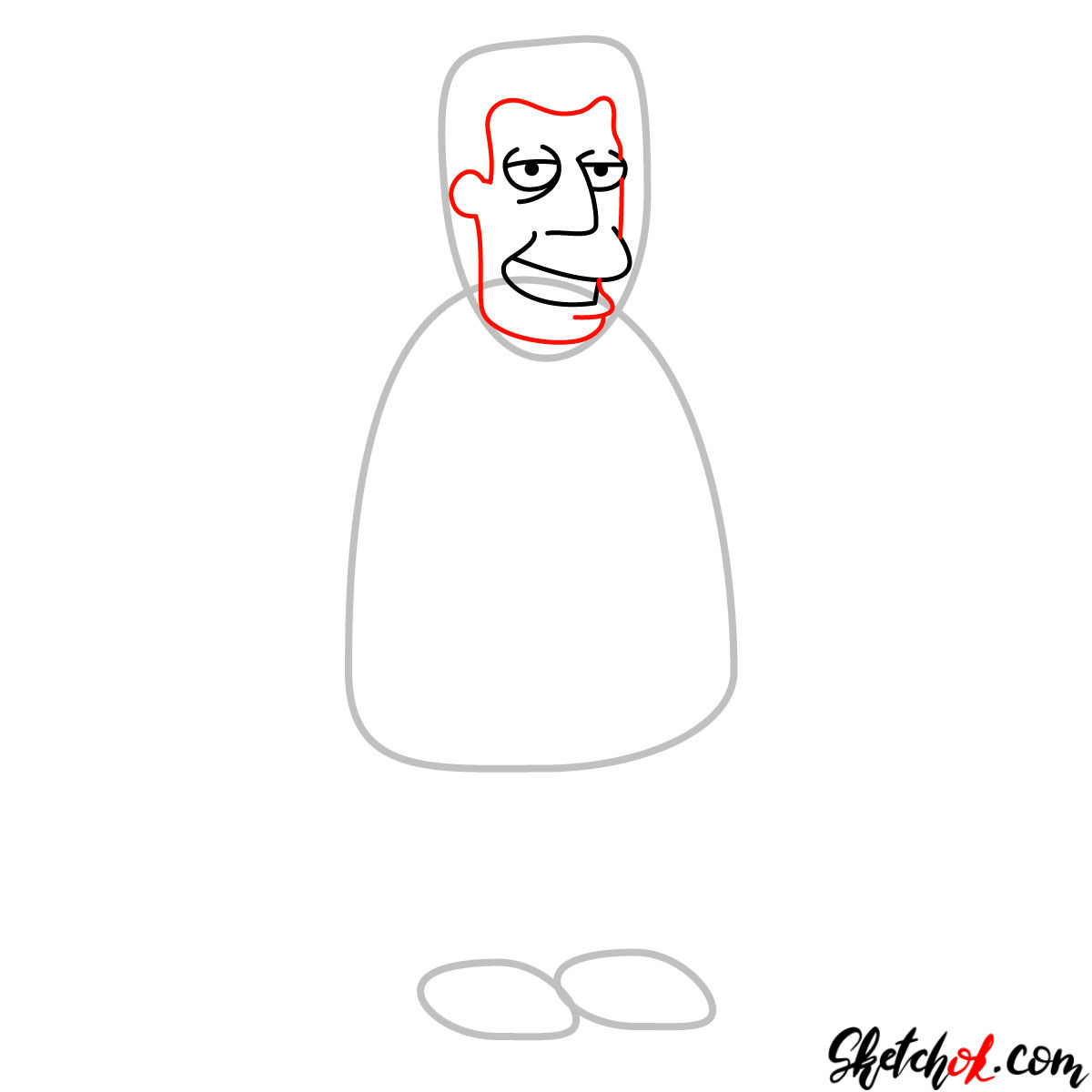 How to draw Kent Brockman - step 03