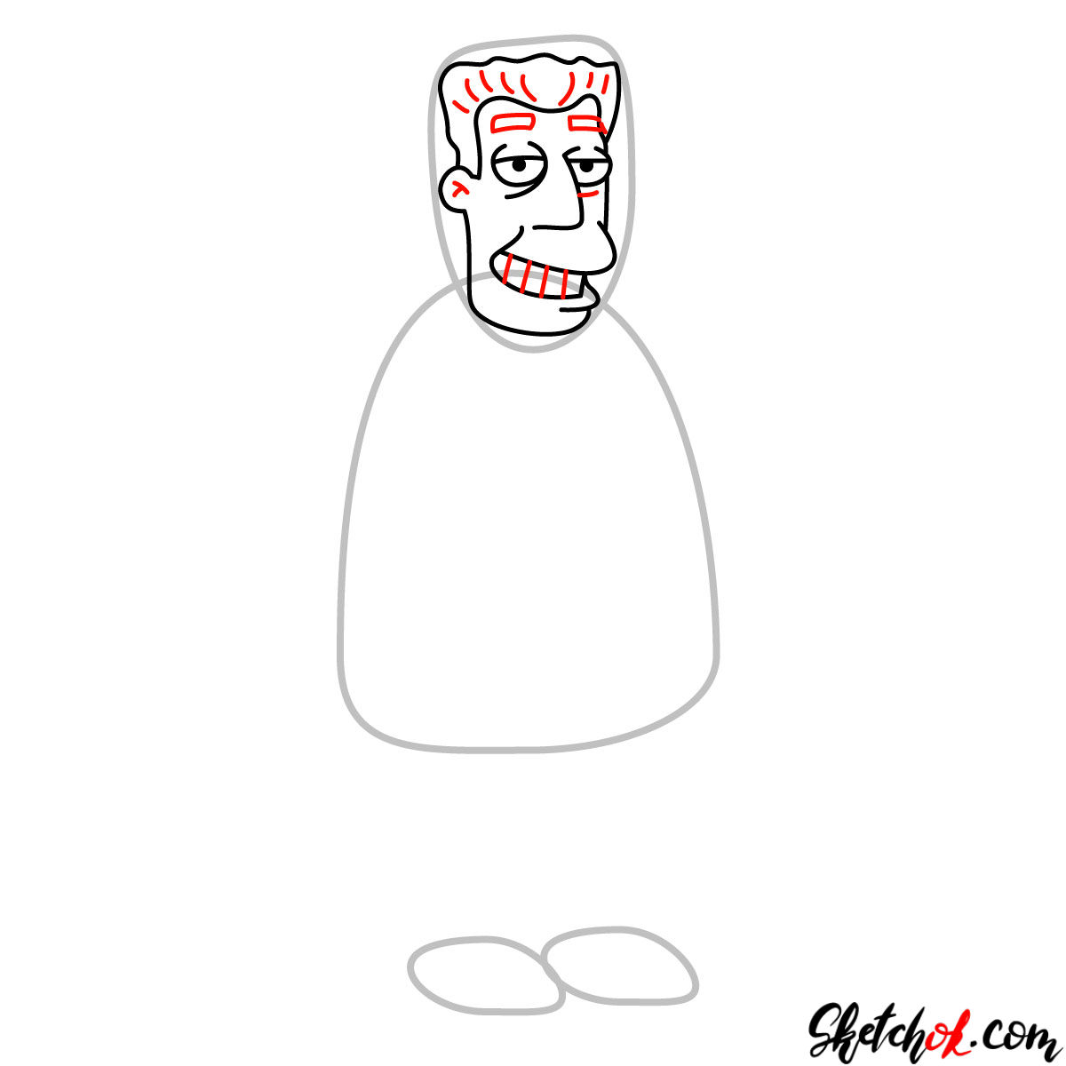 How to draw Kent Brockman - step 05