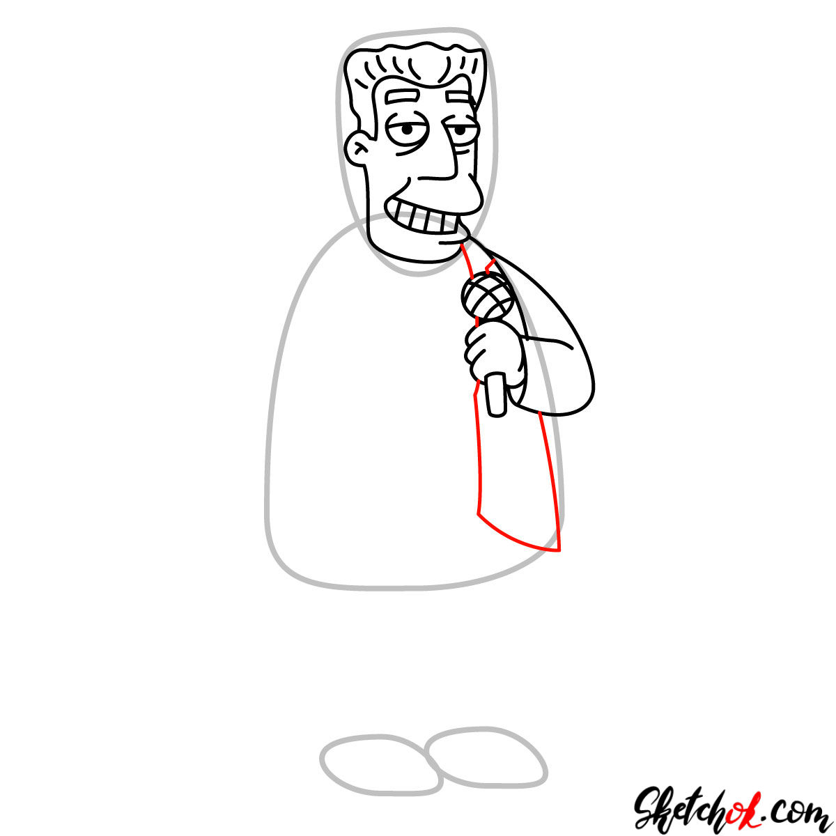 How to draw Kent Brockman - step 07