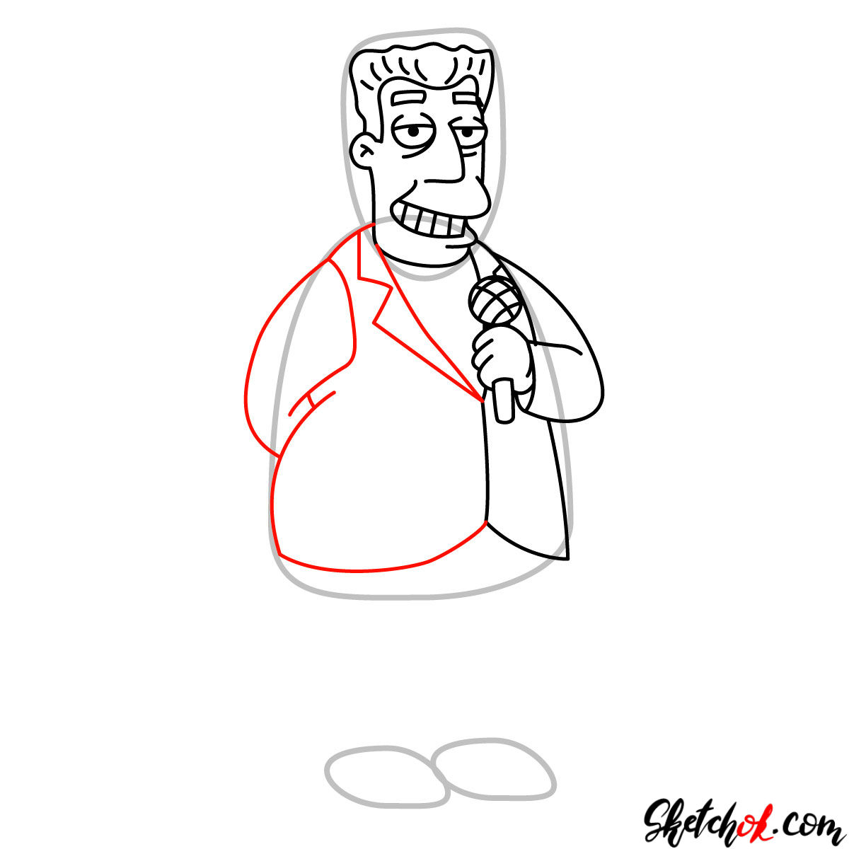 How to draw Kent Brockman - step 08