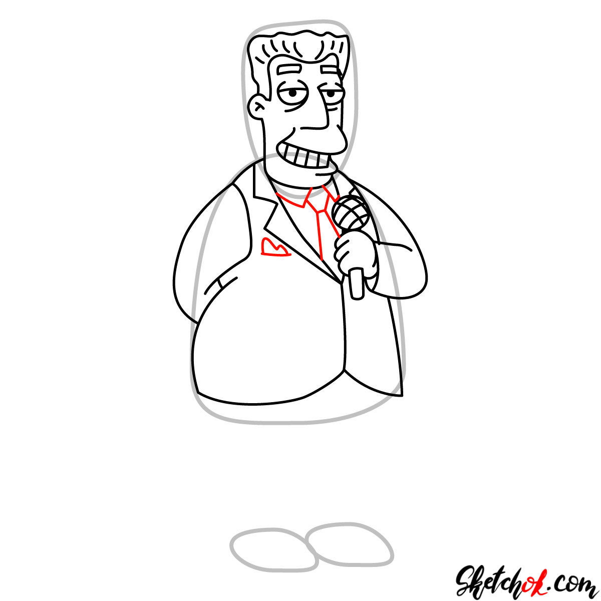 How to draw Kent Brockman - step 09