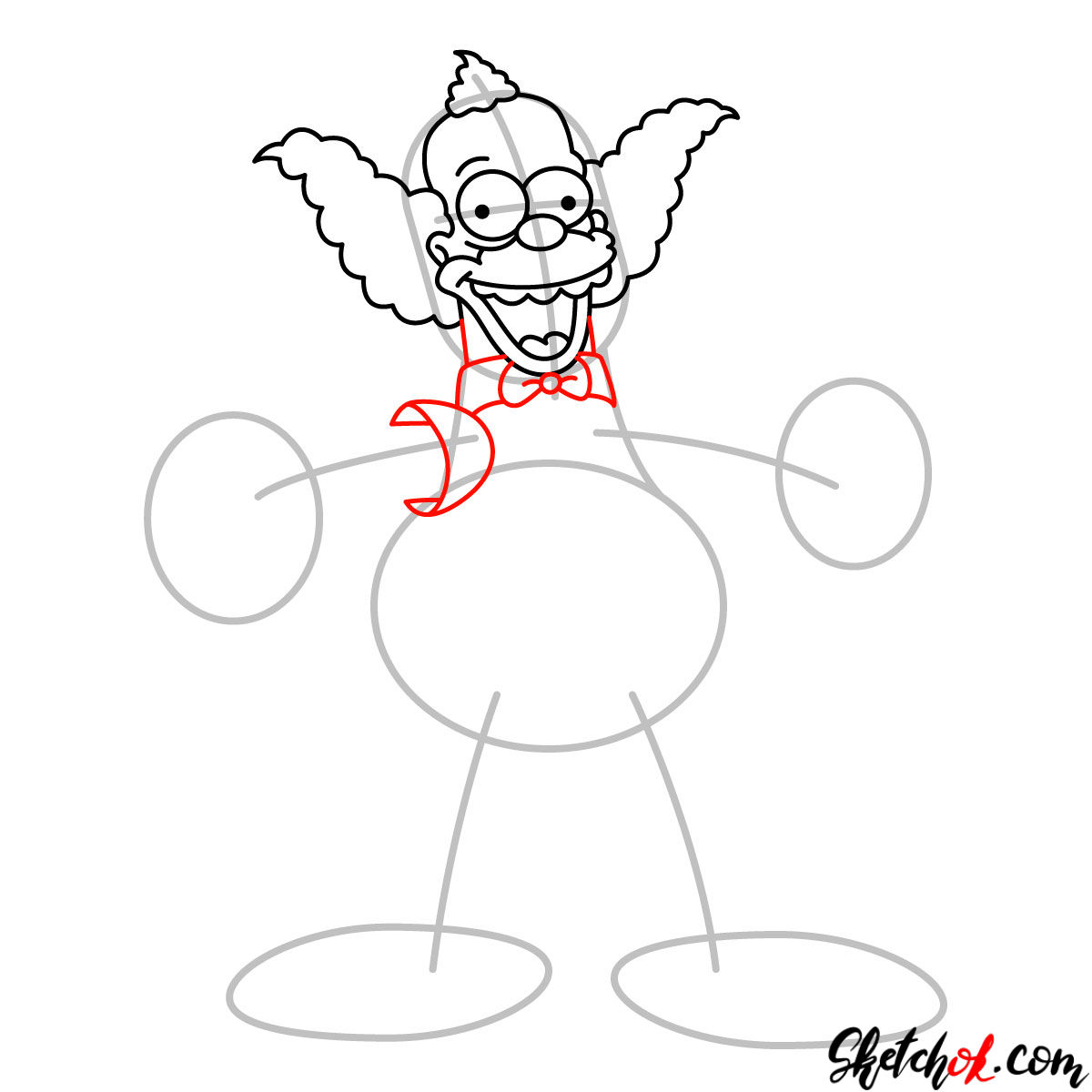 How to draw Krusty the Clown - step 06