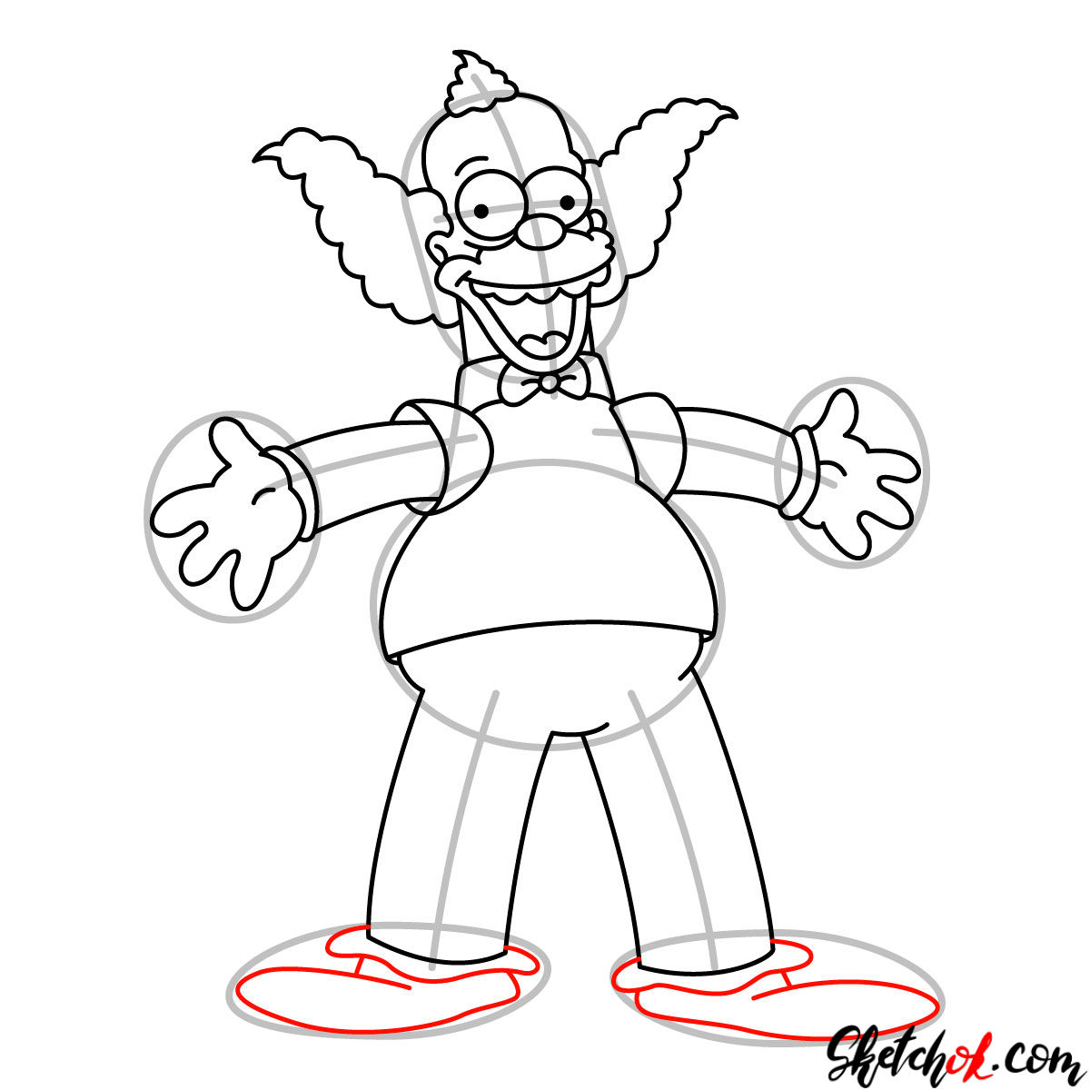 How to draw Krusty the Clown - step 11