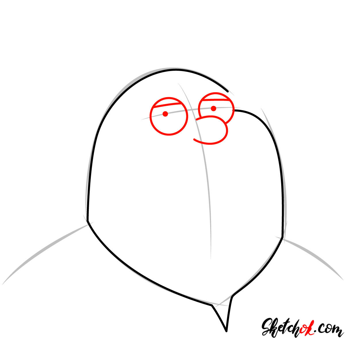 How to draw Peter Griffin's portrait - step 03