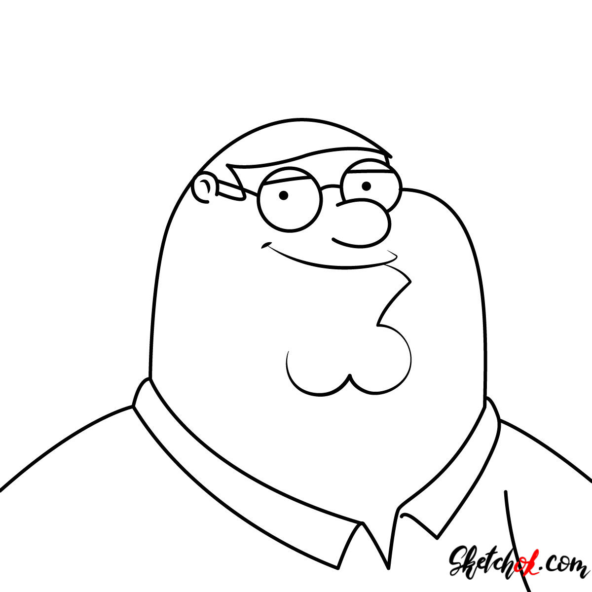 How to draw Peter Griffin's portrait - step 07