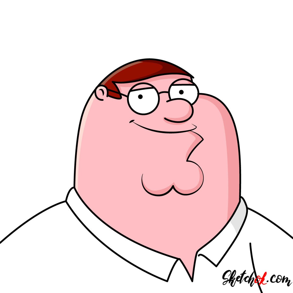 How to draw a portrait of Peter Griffin