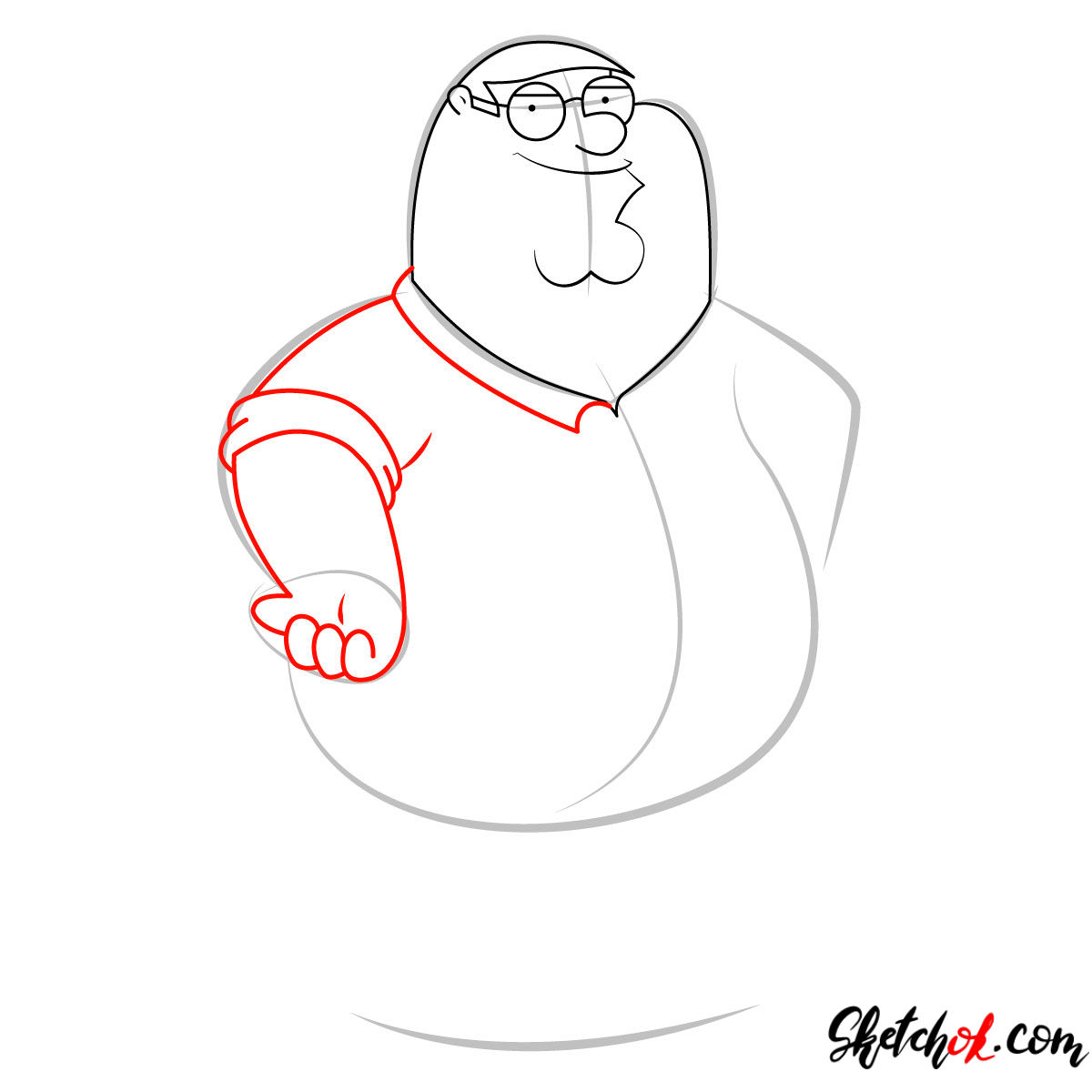 How to draw Peter Griffin - step 05