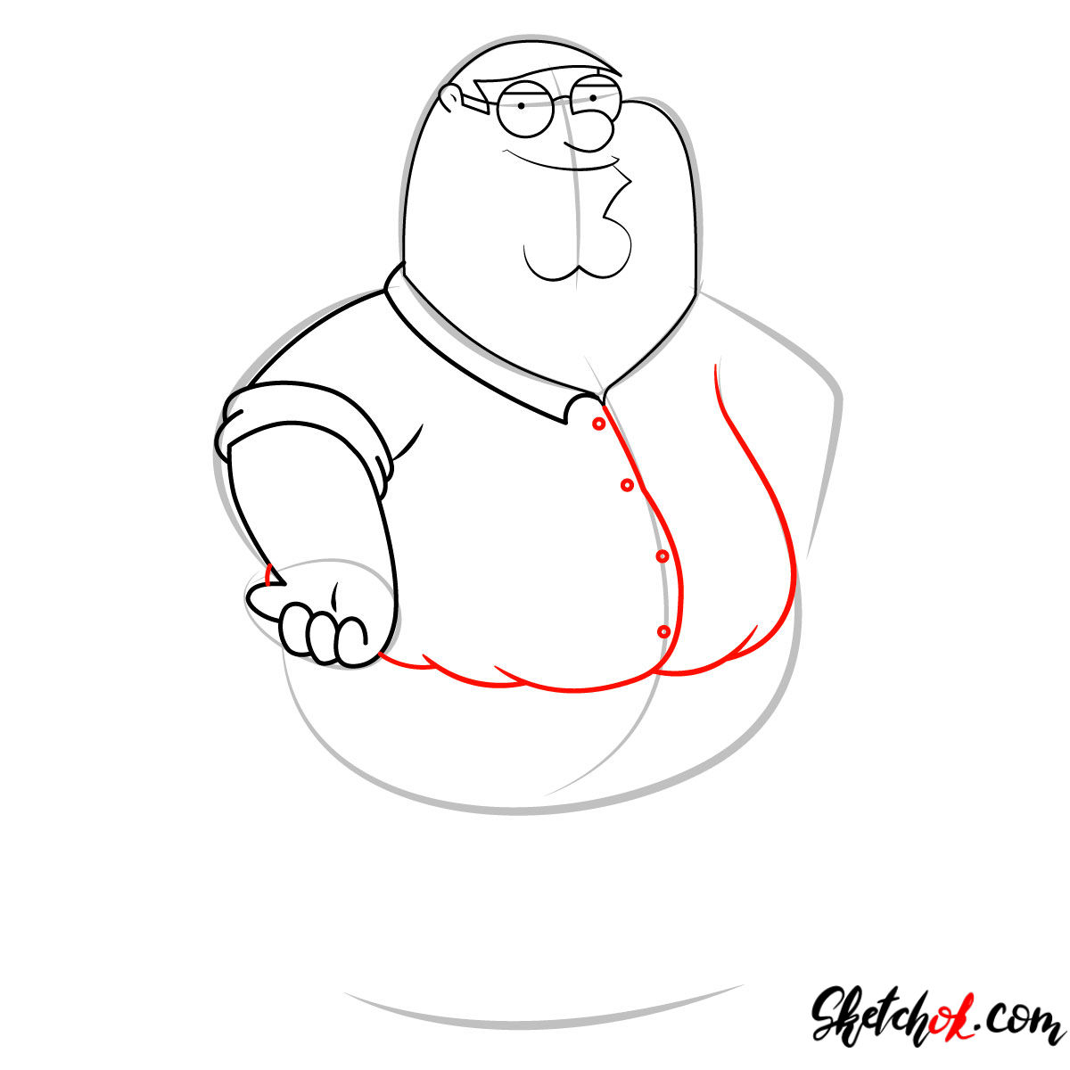 How to draw Peter Griffin - step 06