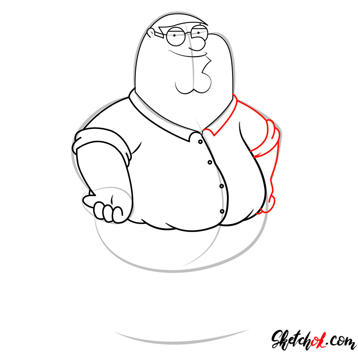 How to draw Peter Griffin - step 07