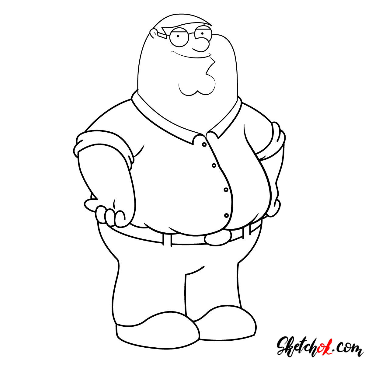 How to draw Peter Griffin - step 11