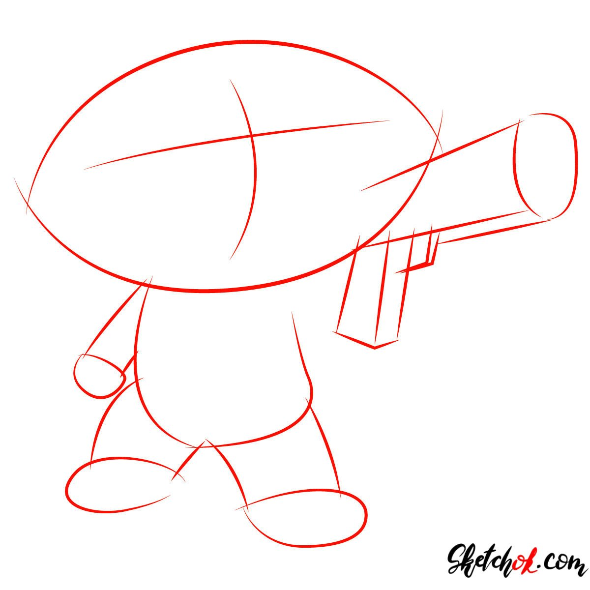 How to draw Stewie Griffin with a pistol - step 01