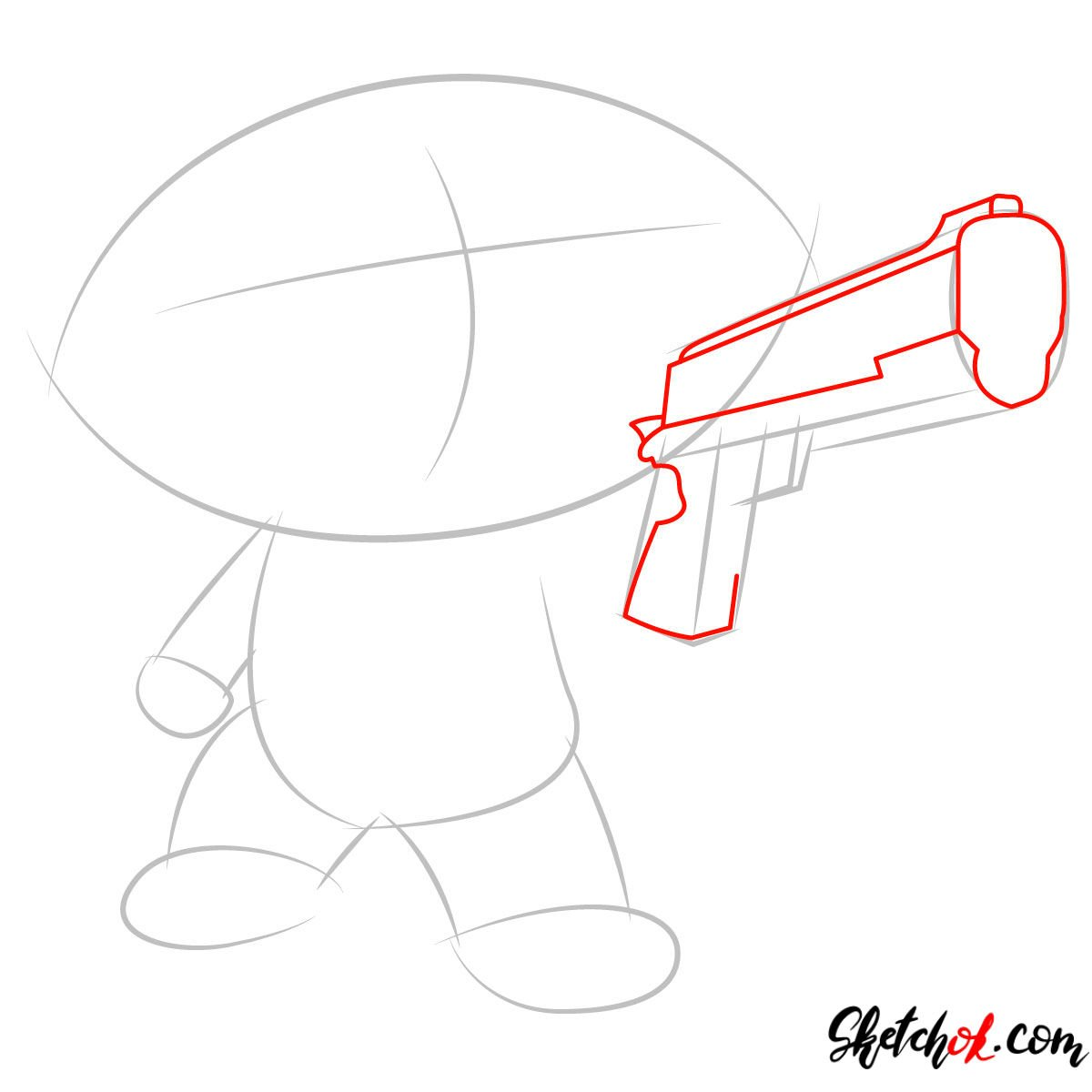 How to draw Stewie Griffin with a pistol - step 02