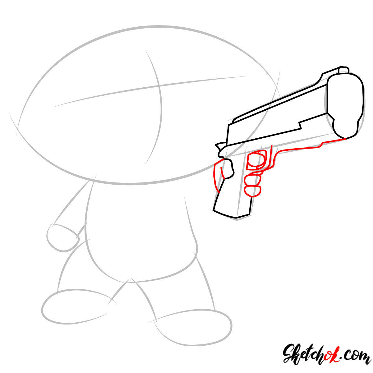 How to draw Stewie Griffin with a pistol - step 03