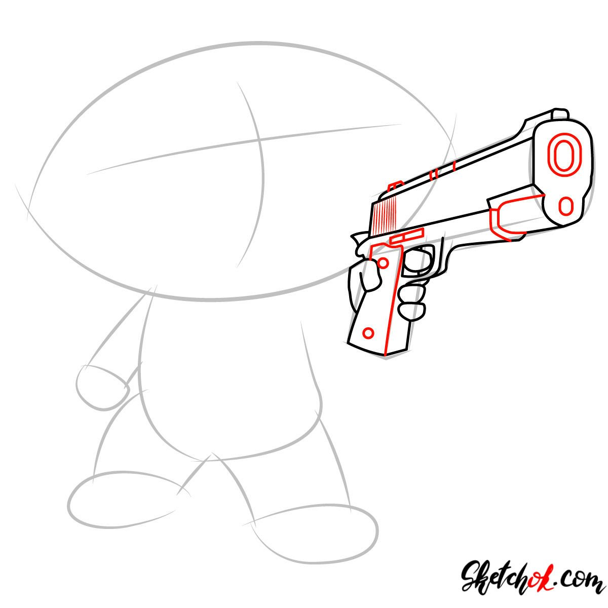 How to draw Stewie Griffin with a pistol - step 04