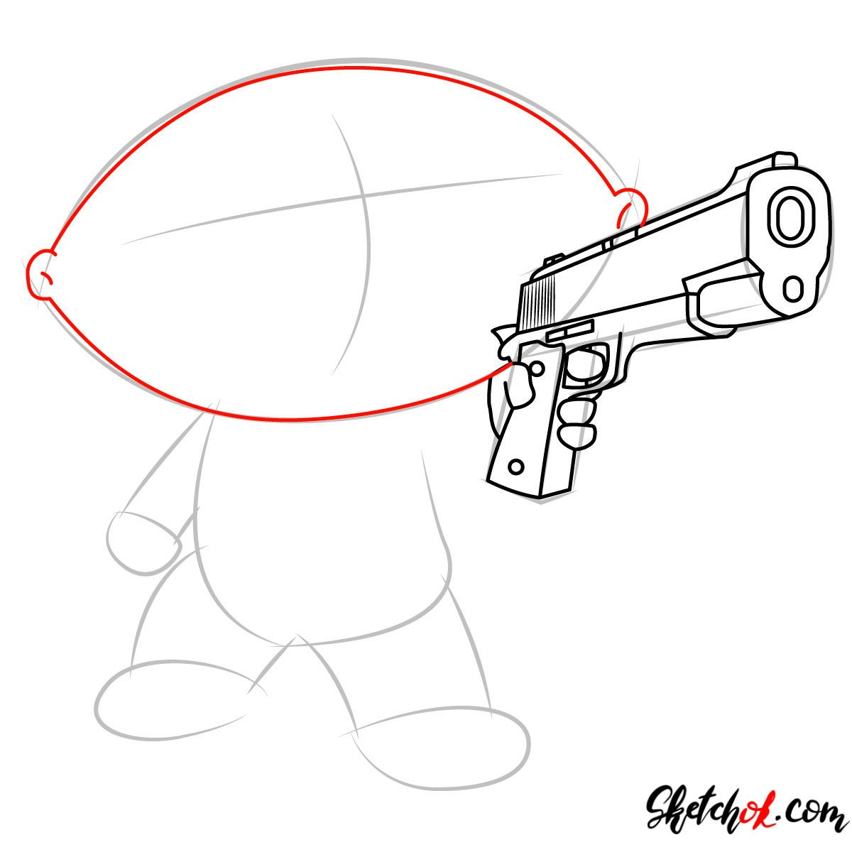 How to draw Stewie Griffin with a pistol - step 05