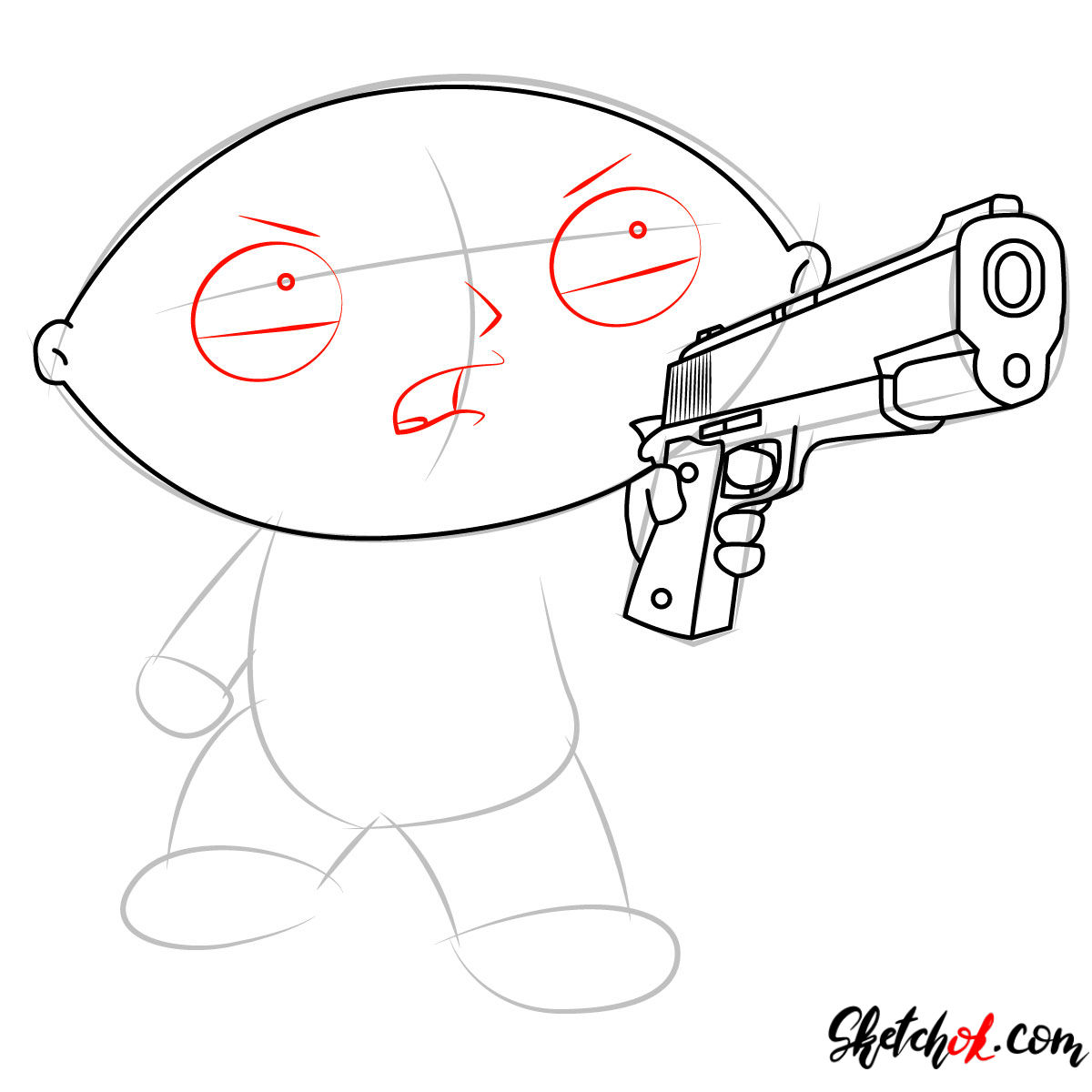 How to draw Stewie Griffin with a pistol - step 06