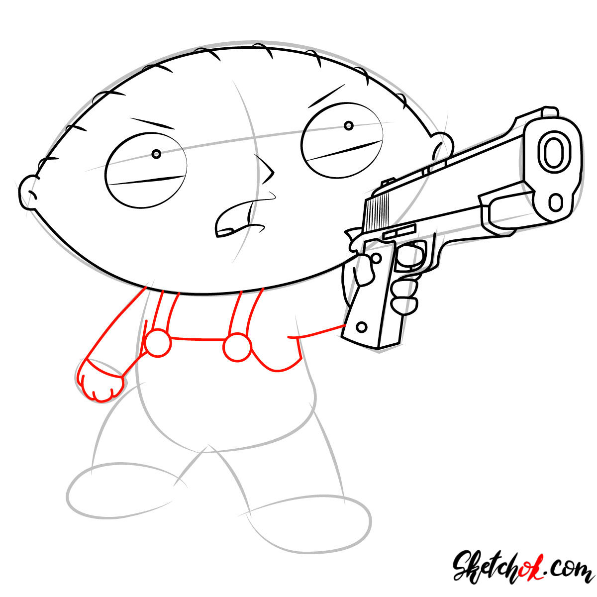 How to draw Stewie Griffin with a pistol - step 08