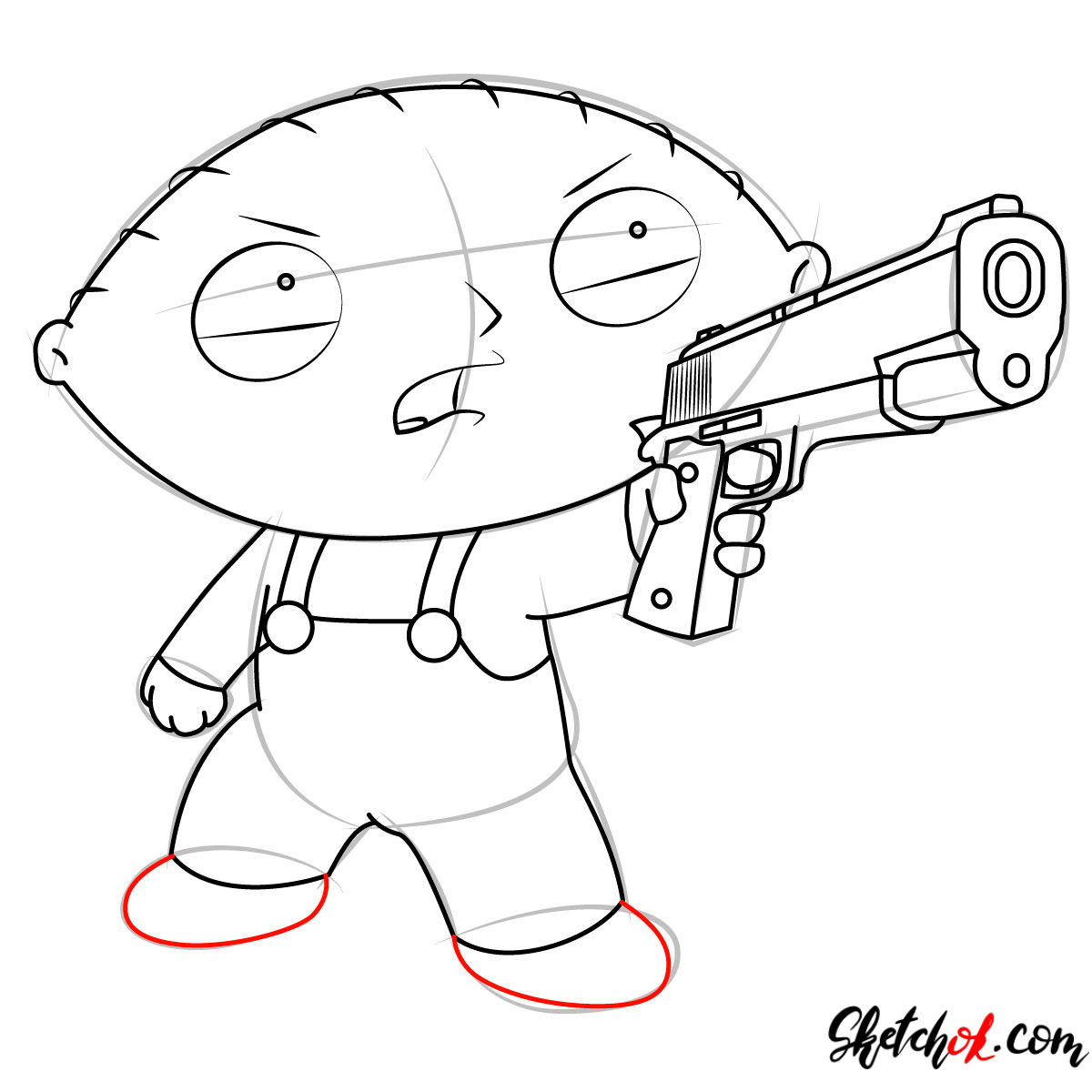 How to draw Stewie Griffin with a pistol - step 10