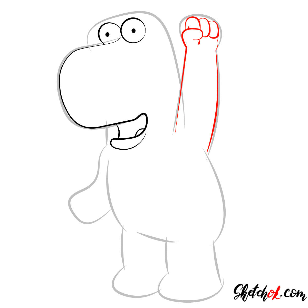 How to draw Brian Griffin - step 03