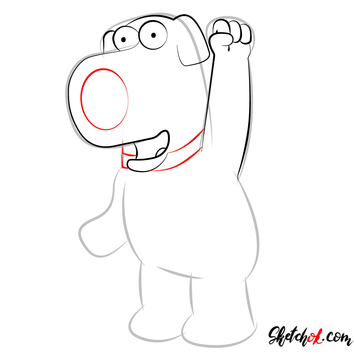 How to draw Brian Griffin - step 05