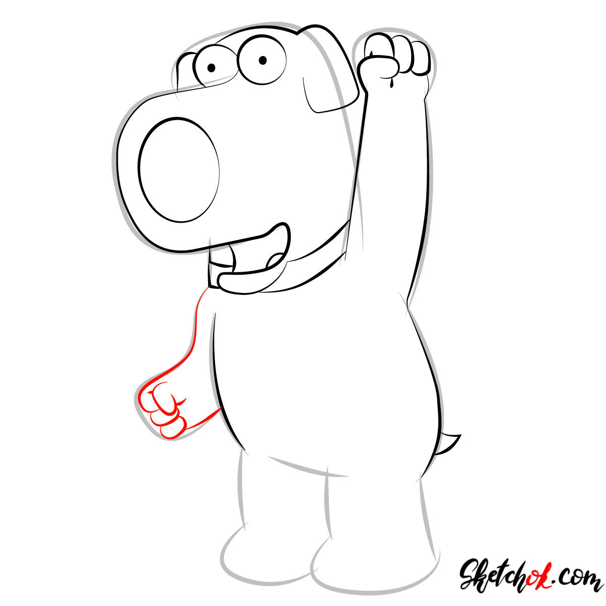 How to draw Brian Griffin - step 07