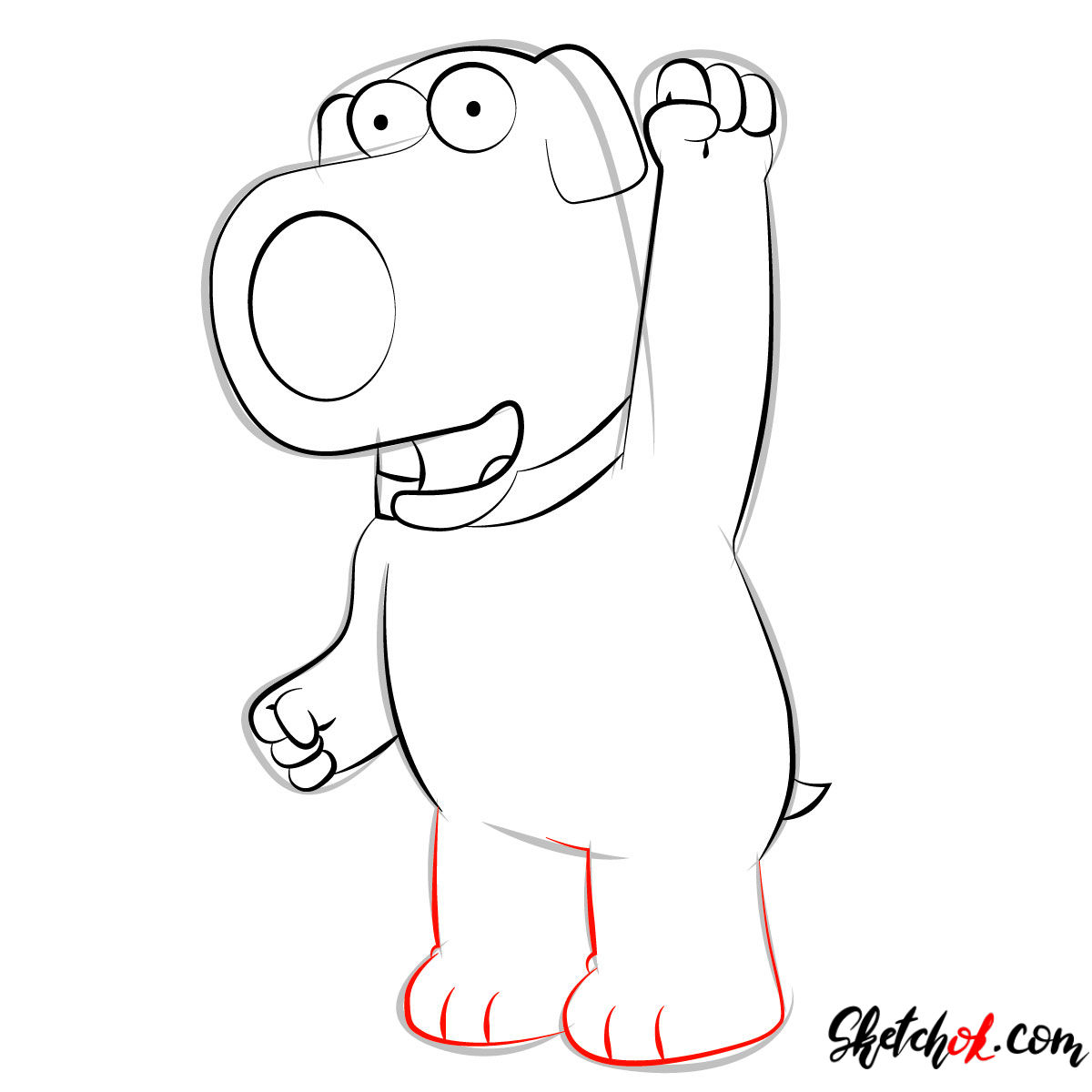 How to draw Brian Griffin - step 08