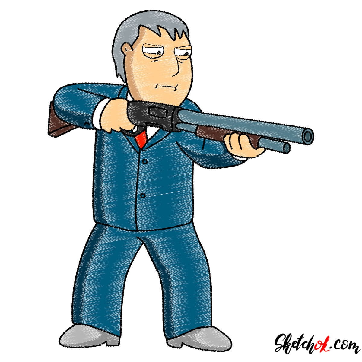 How to draw Mayor Adam West with a shotgun