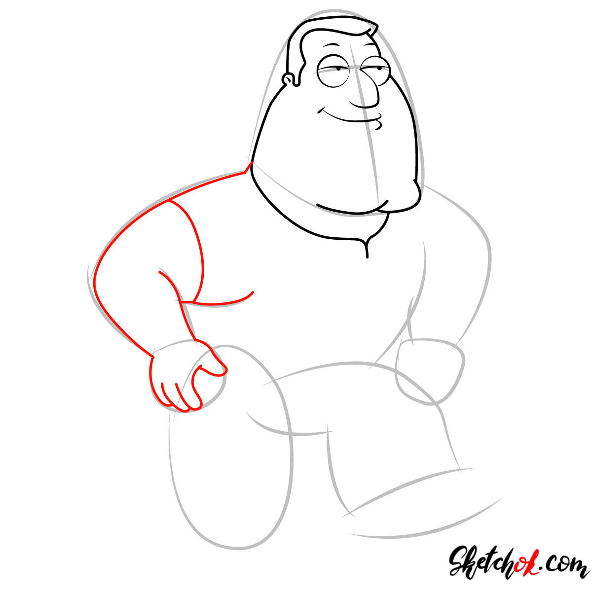 How to draw Joe Swanson - step 04